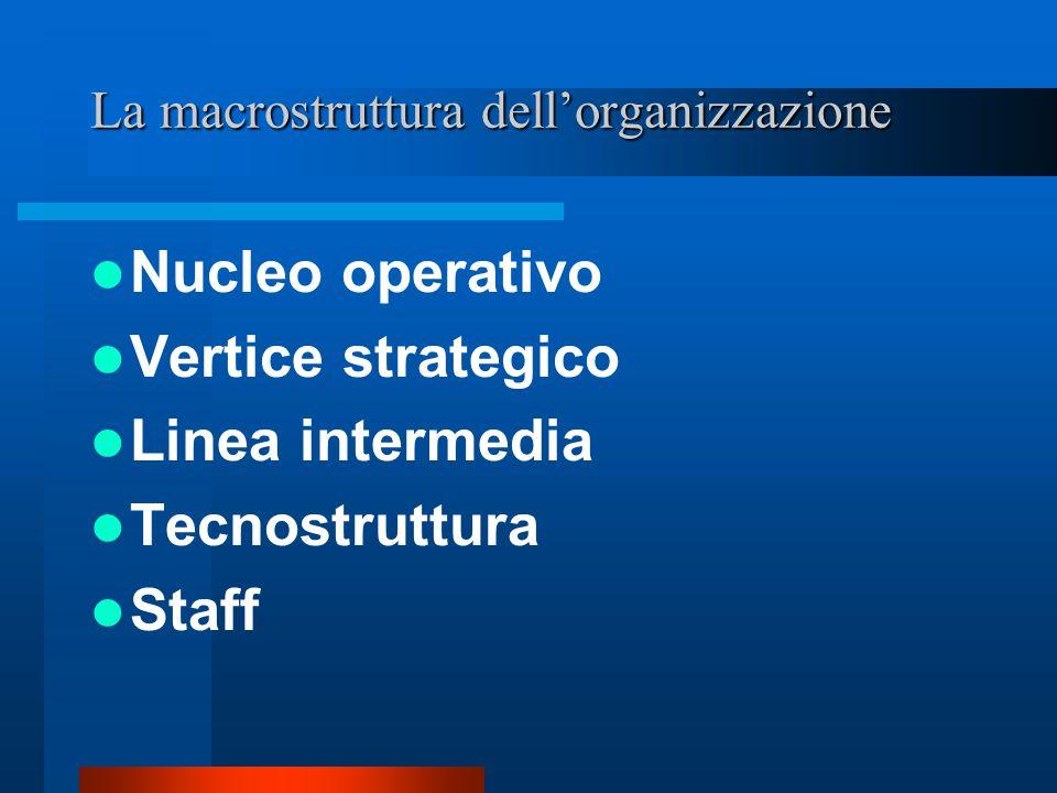 La struttura di una organizzazione La struttura fisica La tecnologia La struttura sociale Le finalità I partecipanti L'ambiente La cultura