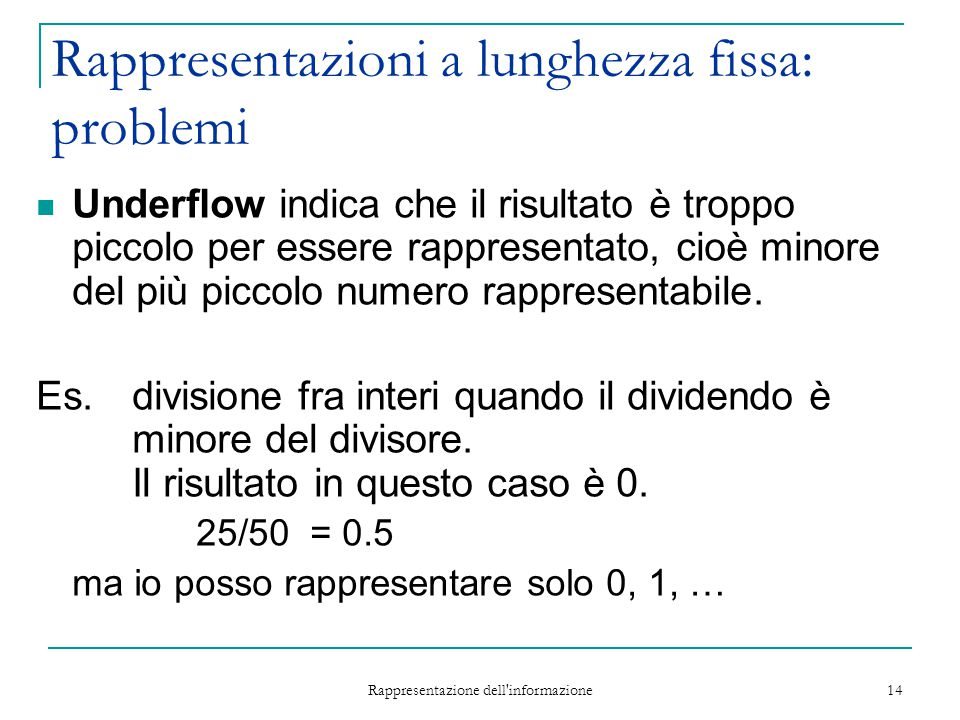 Rappresentazione dell'informazione 14 Rappresentazioni a lunghezza fissa: problemi Underflow indica che il risultato è troppo piccolo per essere rappr