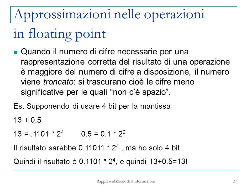 Rappresentazione dell'informazione 27 Approssimazioni nelle operazioni in floating point Quando il numero di cifre necessarie per una rappresentazione