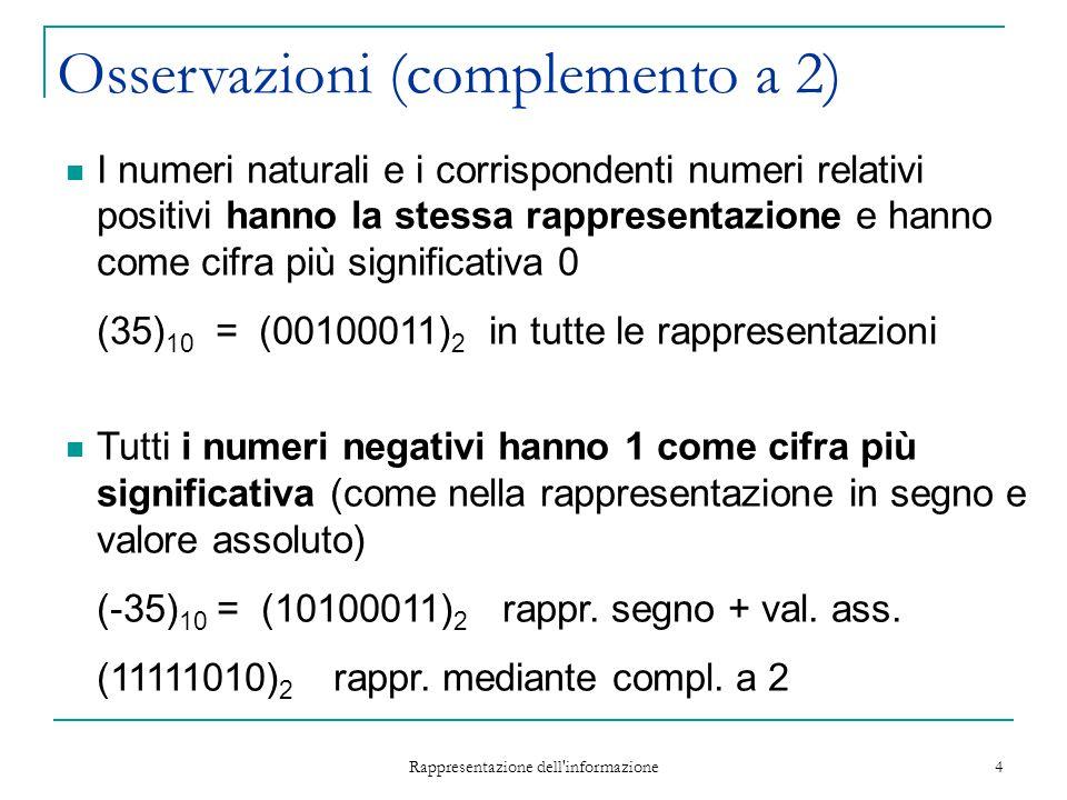 Rappresentazione dell'informazione 4 Osservazioni (complemento a 2) I numeri naturali e i corrispondenti numeri relativi positivi hanno la stessa rapp