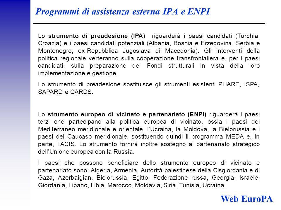Programmi di assistenza esterna IPA e ENPI Lo strumento di preadesione (IPA) riguarderà i paesi candidati (Turchia, Croazia) e i paesi candidati potenziali (Albania, Bosnia e Erzegovina, Serbia e Montenegro, ex-Repubblica Jugoslava di Macedonia).