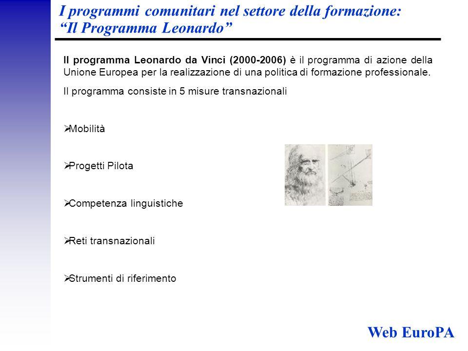 I programmi comunitari nel settore della formazione: Il Programma Leonardo Il programma Leonardo da Vinci (2000-2006) è il programma di azione della Unione Europea per la realizzazione di una politica di formazione professionale.