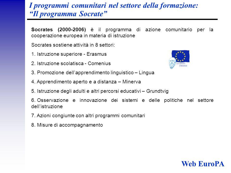 I programmi comunitari nel settore della formazione: Il programma Socrate Socrates (2000-2006) è il programma di azione comunitario per la cooperazione europea in materia di istruzione Socrates sostiene attività in 8 settori: 1.