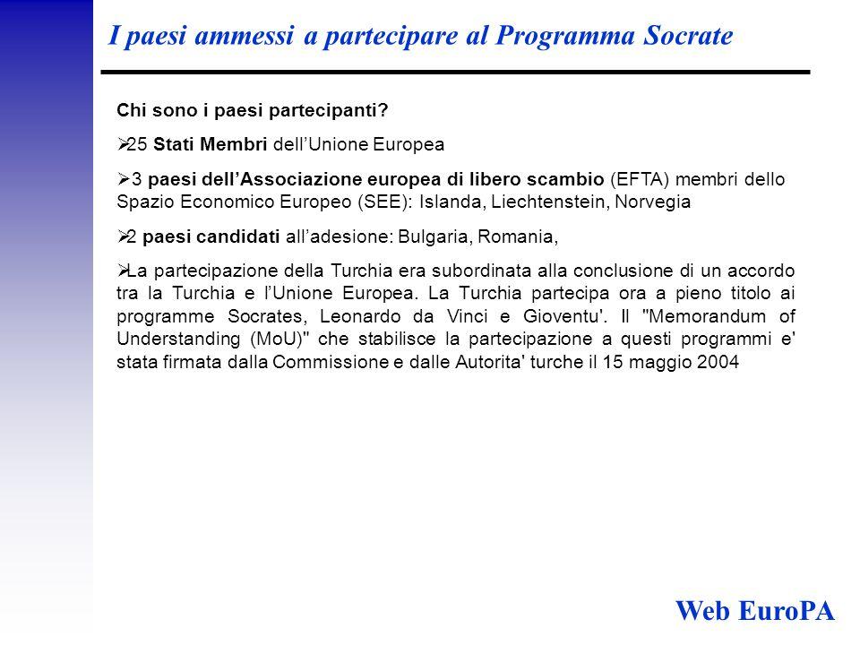 I paesi ammessi a partecipare al Programma Socrate Chi sono i paesi partecipanti.