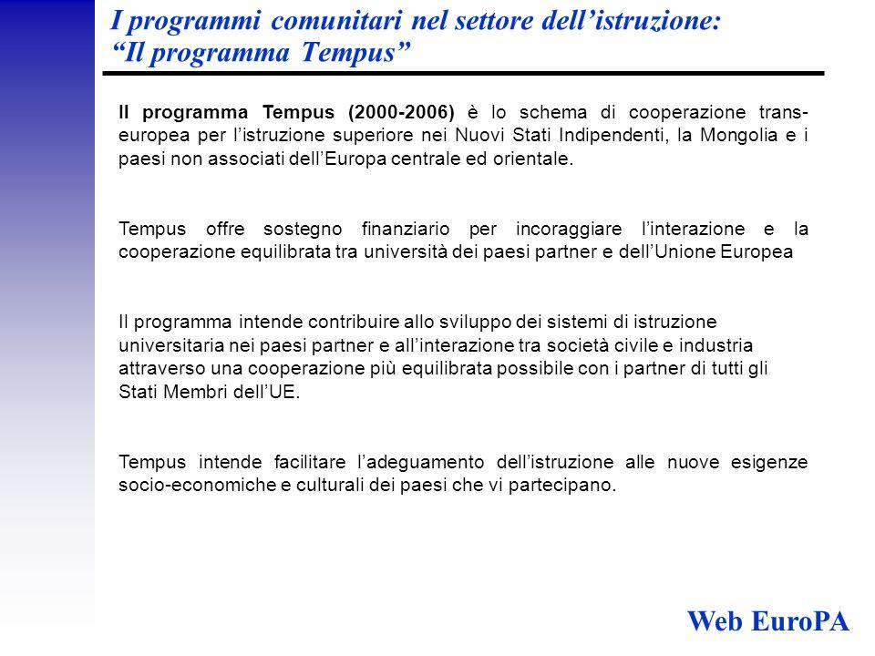 I programmi comunitari nel settore dell'istruzione: Il programma Tempus Il programma Tempus (2000-2006) è lo schema di cooperazione trans- europea per l'istruzione superiore nei Nuovi Stati Indipendenti, la Mongolia e i paesi non associati dell'Europa centrale ed orientale.