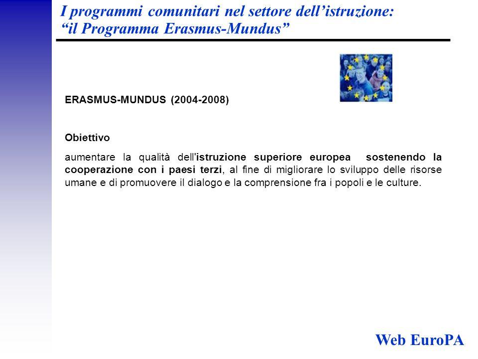 I programmi comunitari nel settore dell'istruzione: il Programma Erasmus-Mundus ERASMUS-MUNDUS (2004-2008) Obiettivo aumentare la qualità dell istruzione superiore europea sostenendo la cooperazione con i paesi terzi, al fine di migliorare lo sviluppo delle risorse umane e di promuovere il dialogo e la comprensione fra i popoli e le culture.