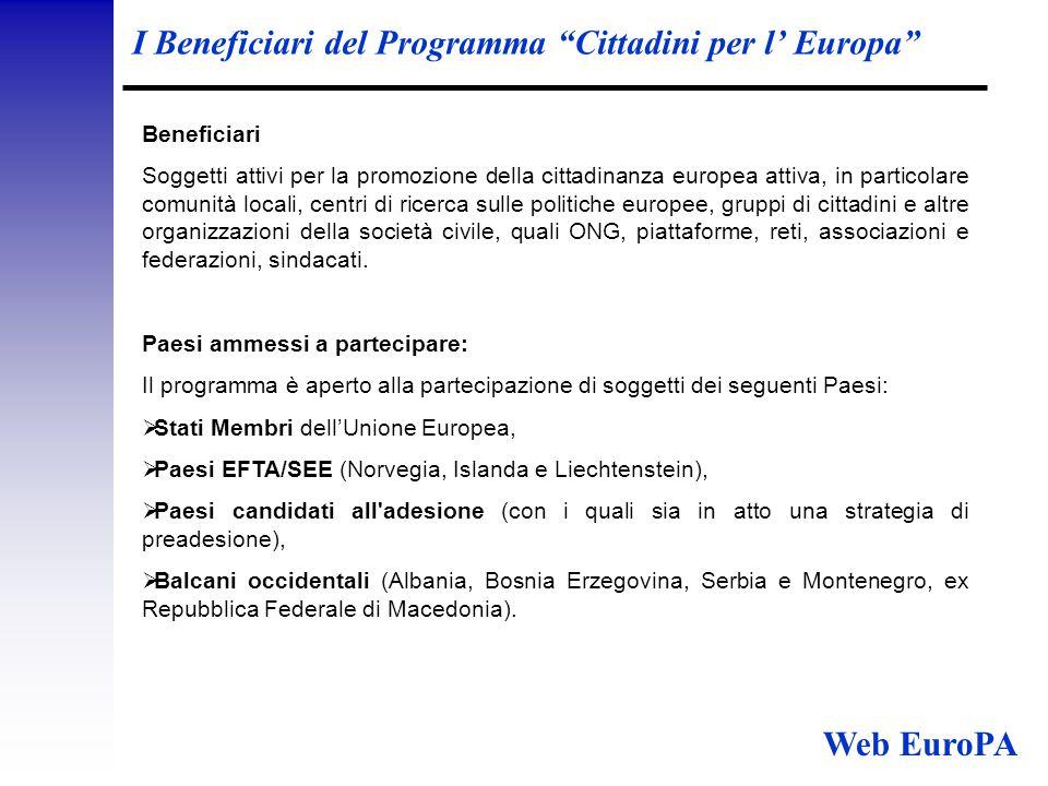 I Beneficiari del Programma Cittadini per l' Europa Beneficiari Soggetti attivi per la promozione della cittadinanza europea attiva, in particolare comunità locali, centri di ricerca sulle politiche europee, gruppi di cittadini e altre organizzazioni della società civile, quali ONG, piattaforme, reti, associazioni e federazioni, sindacati.