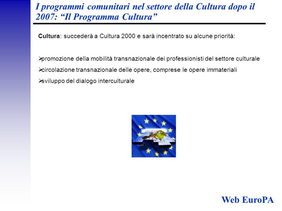 I programmi comunitari nel settore della Cultura dopo il 2007: Il Programma Cultura Cultura: succederà a Cultura 2000 e sarà incentrato su alcune priorità:  promozione della mobilità transnazionale dei professionisti del settore culturale  circolazione transnazionale delle opere, comprese le opere immateriali  sviluppo del dialogo interculturale Web EuroPA