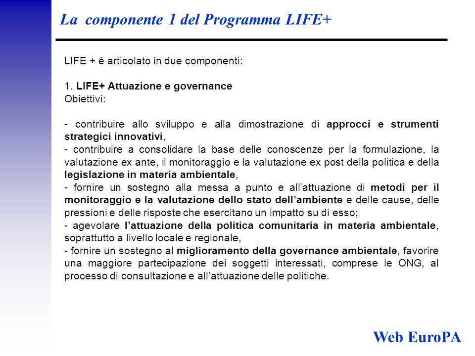 La componente 1 del Programma LIFE+ LIFE + è articolato in due componenti: 1.