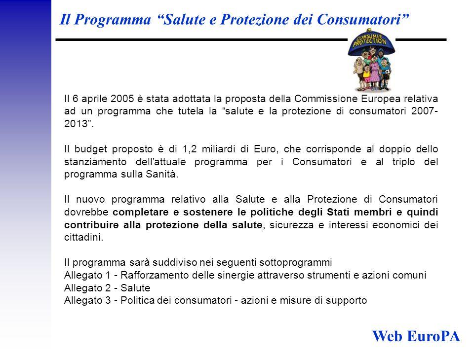 Il Programma Salute e Protezione dei Consumatori Il 6 aprile 2005 è stata adottata la proposta della Commissione Europea relativa ad un programma che tutela la salute e la protezione di consumatori 2007- 2013 .