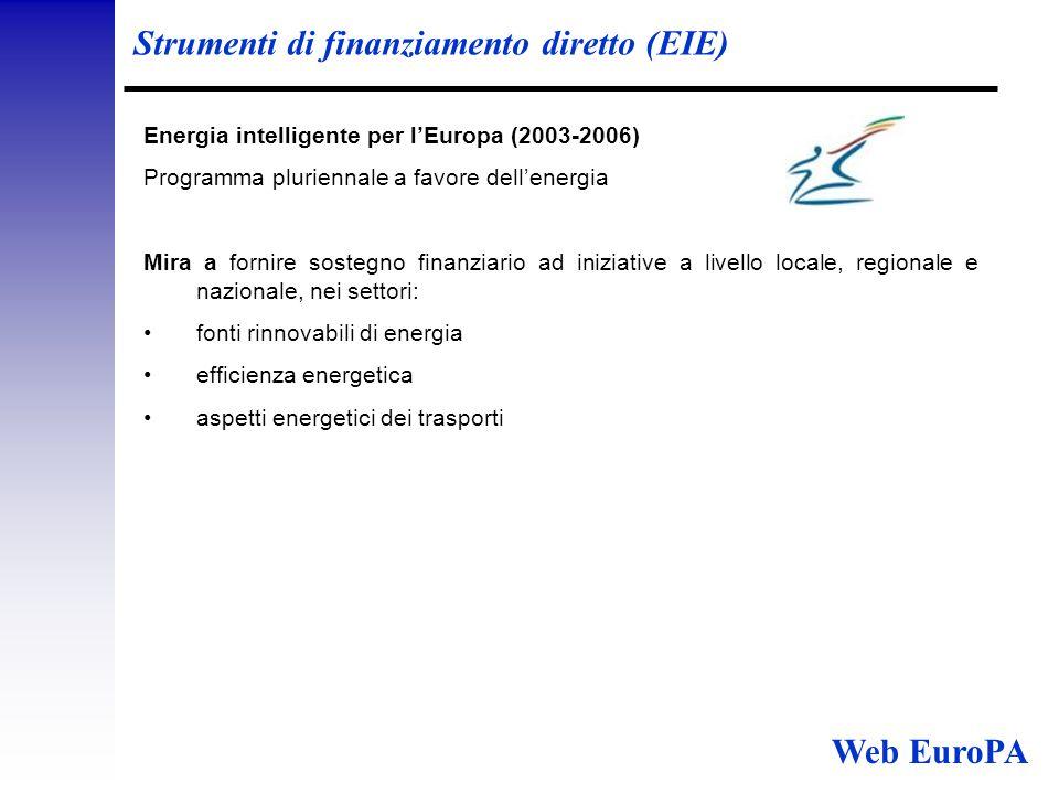 Strumenti di finanziamento diretto (EIE) Energia intelligente per l'Europa (2003-2006) Programma pluriennale a favore dell'energia Mira a fornire sostegno finanziario ad iniziative a livello locale, regionale e nazionale, nei settori: fonti rinnovabili di energia efficienza energetica aspetti energetici dei trasporti Web EuroPA