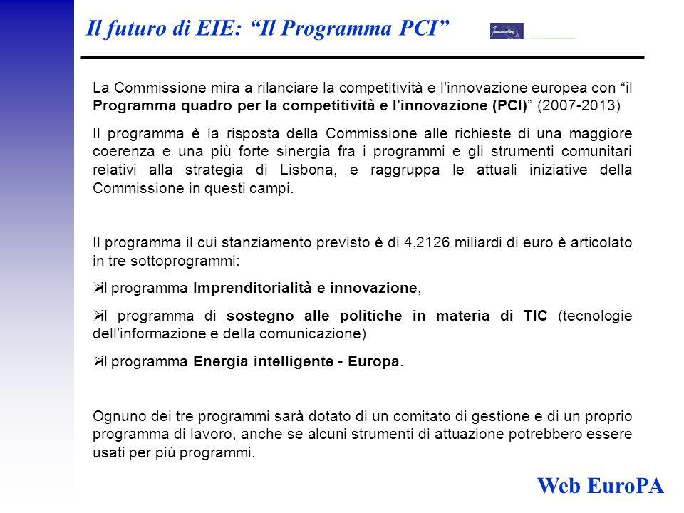 Il futuro di EIE: Il Programma PCI La Commissione mira a rilanciare la competitività e l innovazione europea con il Programma quadro per la competitività e l innovazione (PCI) (2007-2013) Il programma è la risposta della Commissione alle richieste di una maggiore coerenza e una più forte sinergia fra i programmi e gli strumenti comunitari relativi alla strategia di Lisbona, e raggruppa le attuali iniziative della Commissione in questi campi.