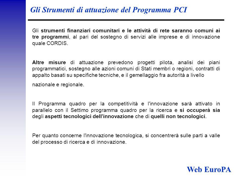 Gli Strumenti di attuazione del Programma PCI Gli strumenti finanziari comunitari e le attività di rete saranno comuni ai tre programmi, al pari del sostegno di servizi alle imprese e di innovazione quale CORDIS.