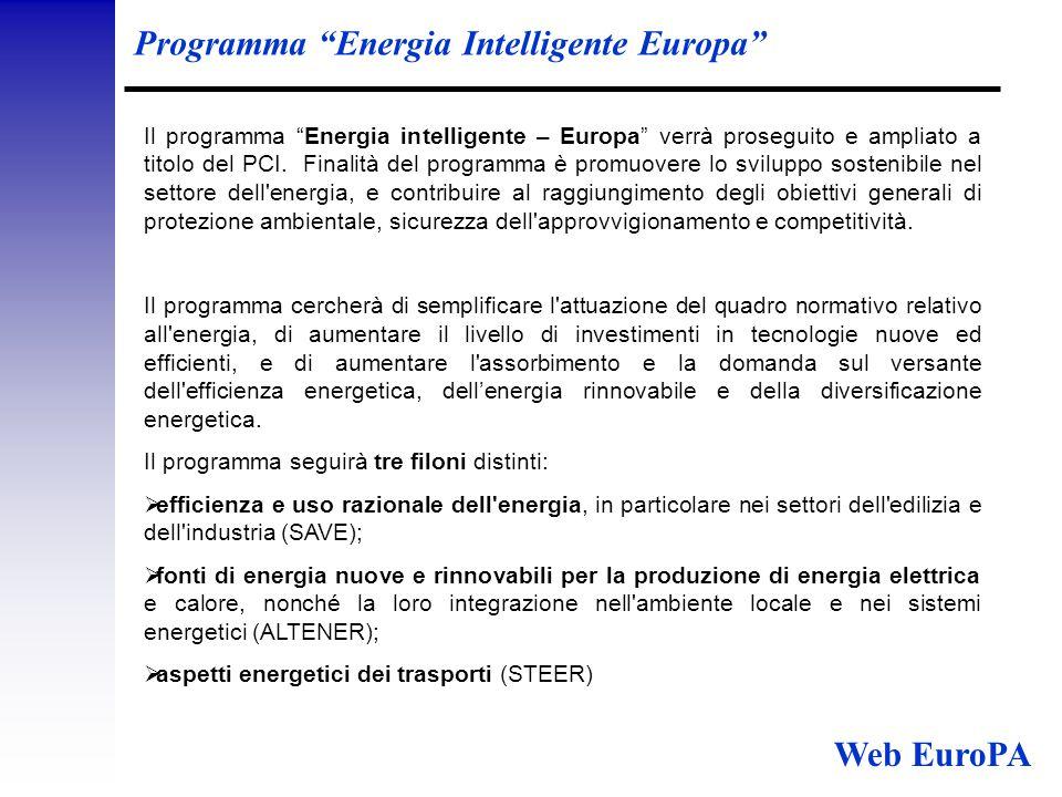 Programma Energia Intelligente Europa Il programma Energia intelligente – Europa verrà proseguito e ampliato a titolo del PCI.