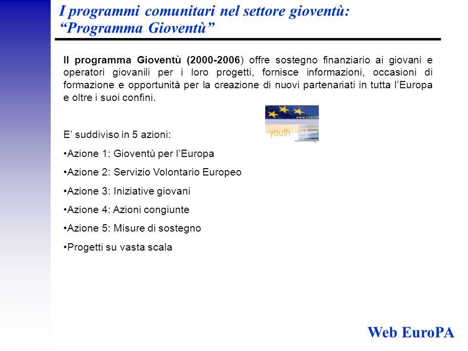 I programmi nel settore della Parità tra donne e uomini Esistono attualmente due programmi per la parità di genere:  La strategia comunitaria in tema di parità tra donne e uomini (2001- 2005).