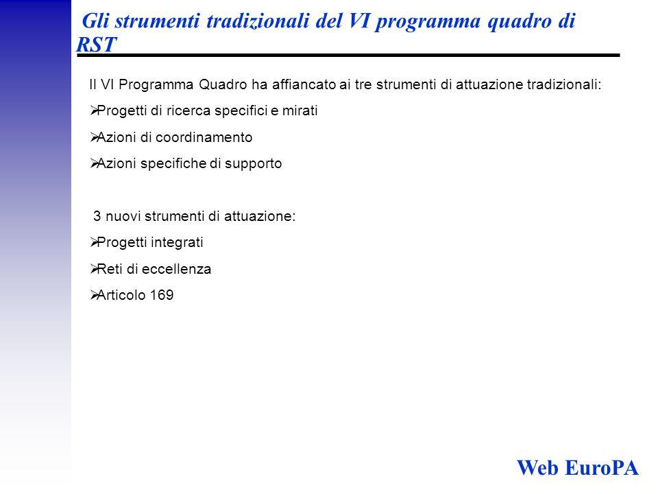Gli strumenti tradizionali del VI programma quadro di RST Il VI Programma Quadro ha affiancato ai tre strumenti di attuazione tradizionali:  Progetti di ricerca specifici e mirati  Azioni di coordinamento  Azioni specifiche di supporto 3 nuovi strumenti di attuazione:  Progetti integrati  Reti di eccellenza  Articolo 169 Web EuroPA