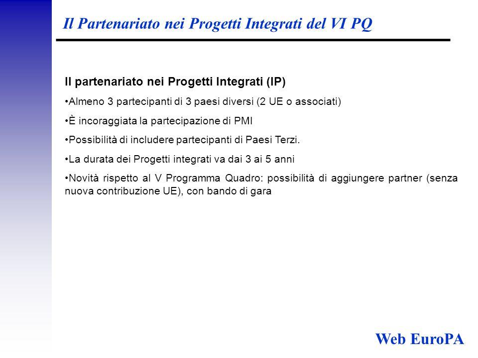 Il Partenariato nei Progetti Integrati del VI PQ Il partenariato nei Progetti Integrati (IP) Almeno 3 partecipanti di 3 paesi diversi (2 UE o associati) È incoraggiata la partecipazione di PMI Possibilità di includere partecipanti di Paesi Terzi.