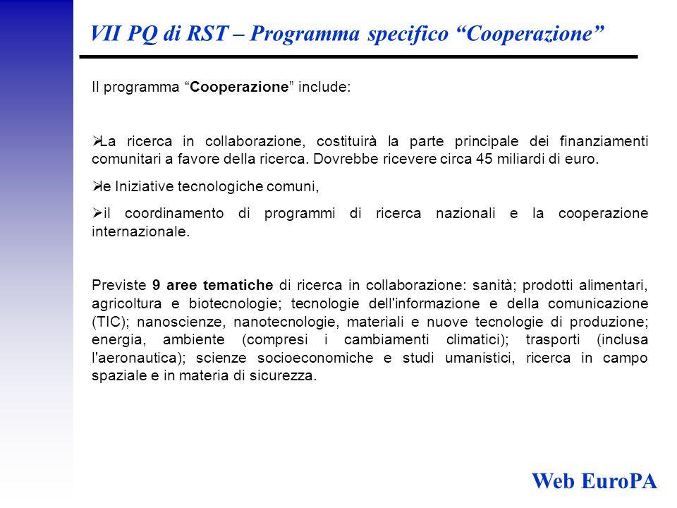 VII PQ di RST – Programma specifico Cooperazione Il programma Cooperazione include:  La ricerca in collaborazione, costituirà la parte principale dei finanziamenti comunitari a favore della ricerca.
