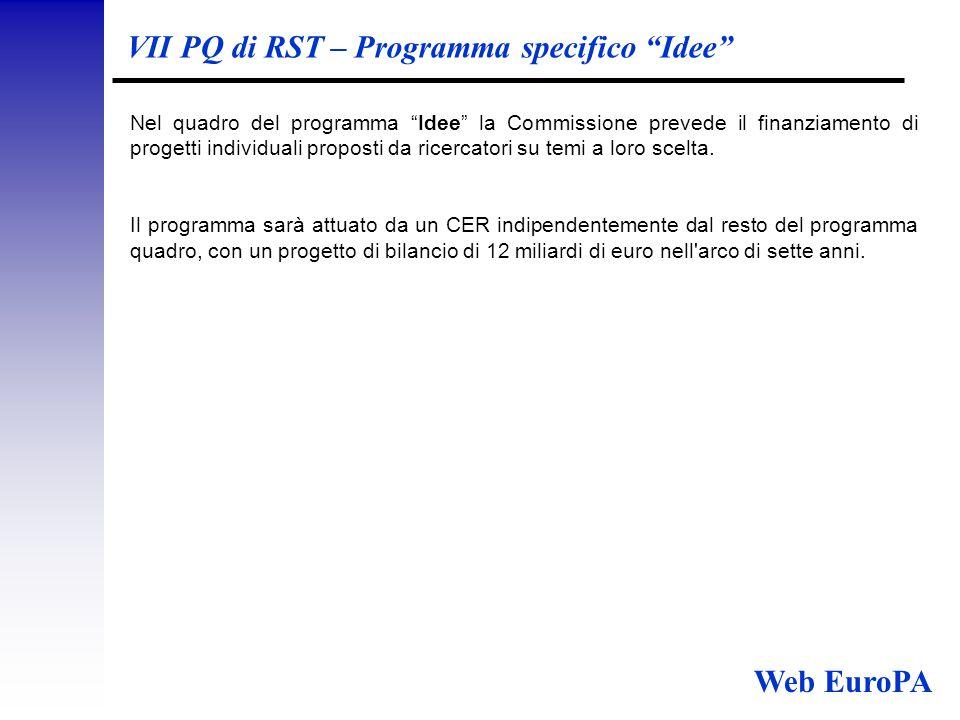 VII PQ di RST – Programma specifico Idee Nel quadro del programma Idee la Commissione prevede il finanziamento di progetti individuali proposti da ricercatori su temi a loro scelta.