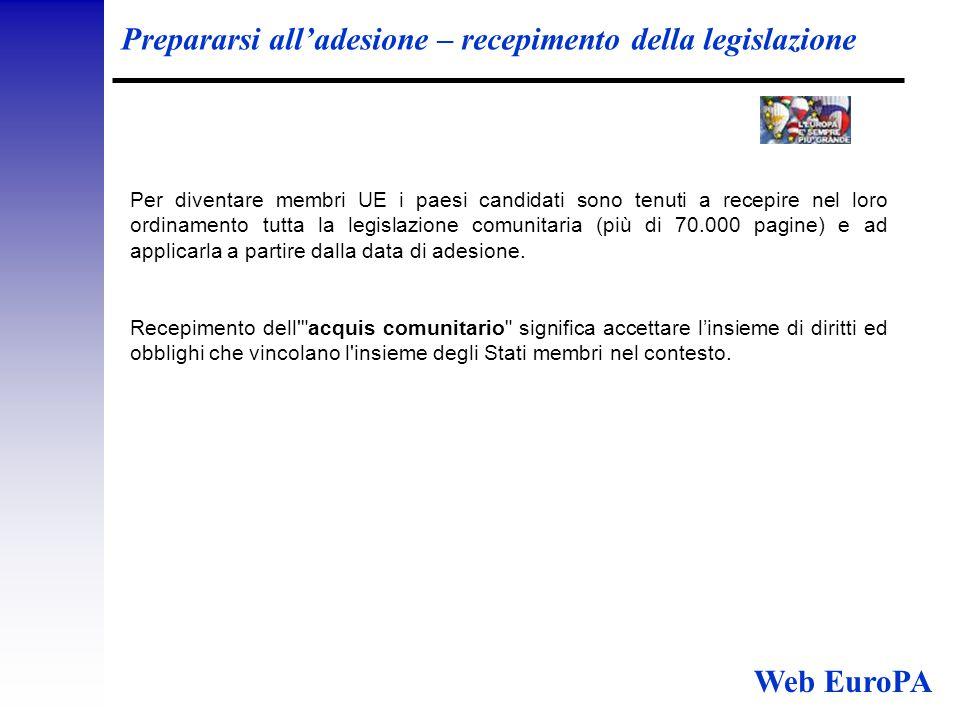 Prepararsi all'adesione – recepimento della legislazione Per diventare membri UE i paesi candidati sono tenuti a recepire nel loro ordinamento tutta la legislazione comunitaria (più di 70.000 pagine) e ad applicarla a partire dalla data di adesione.