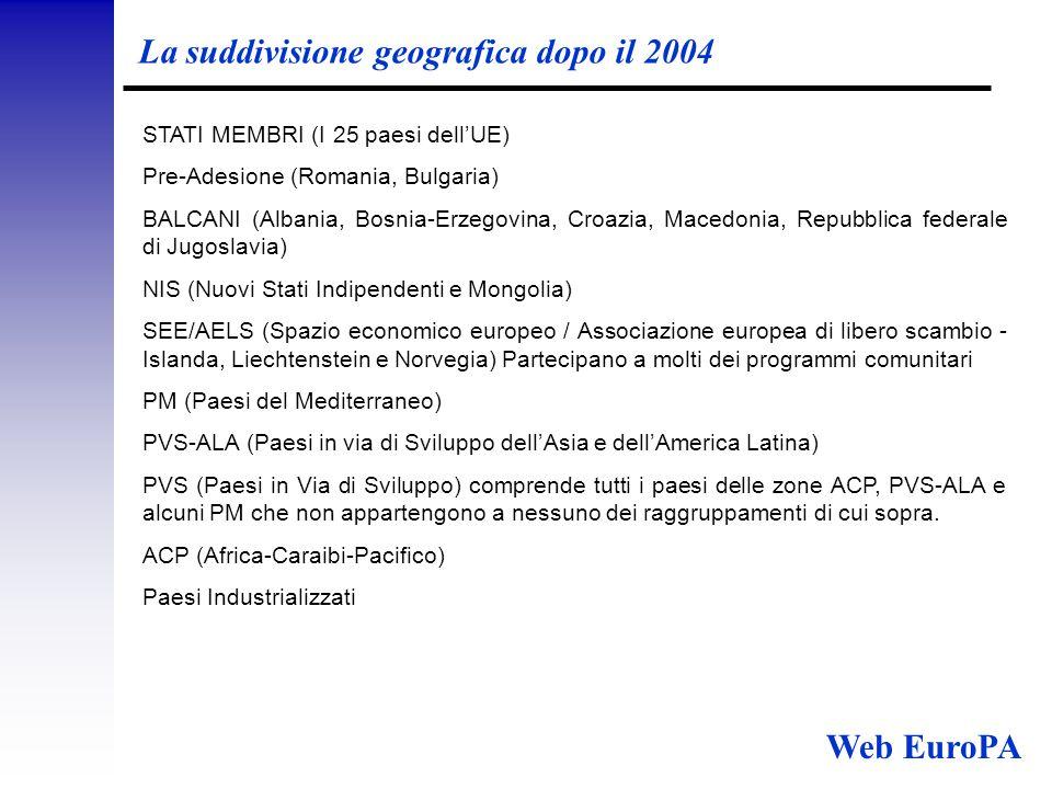 La suddivisione geografica dopo il 2004 STATI MEMBRI (I 25 paesi dell'UE) Pre-Adesione (Romania, Bulgaria) BALCANI (Albania, Bosnia-Erzegovina, Croazia, Macedonia, Repubblica federale di Jugoslavia) NIS (Nuovi Stati Indipendenti e Mongolia) SEE/AELS (Spazio economico europeo / Associazione europea di libero scambio - Islanda, Liechtenstein e Norvegia) Partecipano a molti dei programmi comunitari PM (Paesi del Mediterraneo) PVS-ALA (Paesi in via di Sviluppo dell'Asia e dell'America Latina) PVS (Paesi in Via di Sviluppo) comprende tutti i paesi delle zone ACP, PVS-ALA e alcuni PM che non appartengono a nessuno dei raggruppamenti di cui sopra.