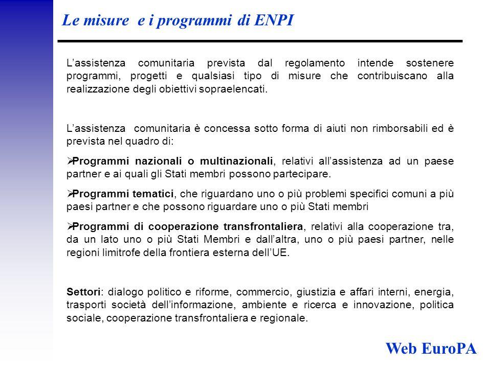 Le misure e i programmi di ENPI L'assistenza comunitaria prevista dal regolamento intende sostenere programmi, progetti e qualsiasi tipo di misure che contribuiscano alla realizzazione degli obiettivi sopraelencati.