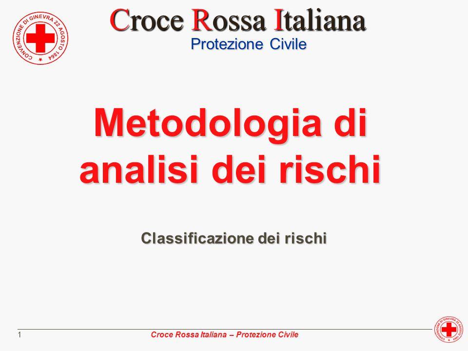 ________________________________________________________________________________________________ Croce Rossa Italiana – Protezione Civile 1 Metodologia di analisi dei rischi Classificazione dei rischi Protezione Civile Croce Rossa Italiana Croce Rossa Italiana