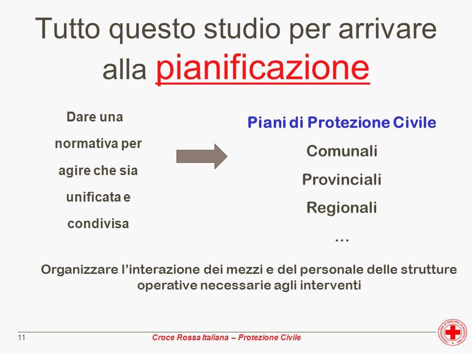 ________________________________________________________________________________________________ Croce Rossa Italiana – Protezione Civile 11 Tutto questo studio per arrivare alla pianificazione Dare una normativa per agire che sia unificata e condivisa Piani di Protezione Civile Comunali Provinciali Regionali … Organizzare l'interazione dei mezzi e del personale delle strutture operative necessarie agli interventi