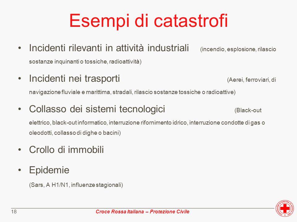 ________________________________________________________________________________________________ Croce Rossa Italiana – Protezione Civile 18 Esempi di catastrofi Incidenti rilevanti in attività industriali (incendio, esplosione, rilascio sostanze inquinanti o tossiche, radioattività) Incidenti nei trasporti (Aerei, ferroviari, di navigazione fluviale e marittima, stradali, rilascio sostanze tossiche o radioattive) Collasso dei sistemi tecnologici (Black-out elettrico, black-out informatico, interruzione rifornimento idrico, interruzione condotte di gas o oleodotti, collasso di dighe o bacini) Crollo di immobili Epidemie (Sars, A H1/N1, influenze stagionali)