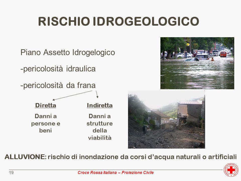 ________________________________________________________________________________________________ Croce Rossa Italiana – Protezione Civile 19 Piano Assetto Idrogelogico -pericolosità idraulica -pericolosità da frana RISCHIO IDROGEOLOGICO Diretta Danni a persone e beni Indiretta Danni a strutture della viabilità ALLUVIONE: rischio di inondazione da corsi d'acqua naturali o artificiali