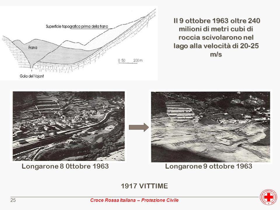 ________________________________________________________________________________________________ Croce Rossa Italiana – Protezione Civile 25 Il 9 ottobre 1963 oltre 240 milioni di metri cubi di roccia scivolarono nel lago alla velocità di 20-25 m/s Longarone 8 0ttobre 1963 Longarone 9 ottobre 1963 1917 VITTIME