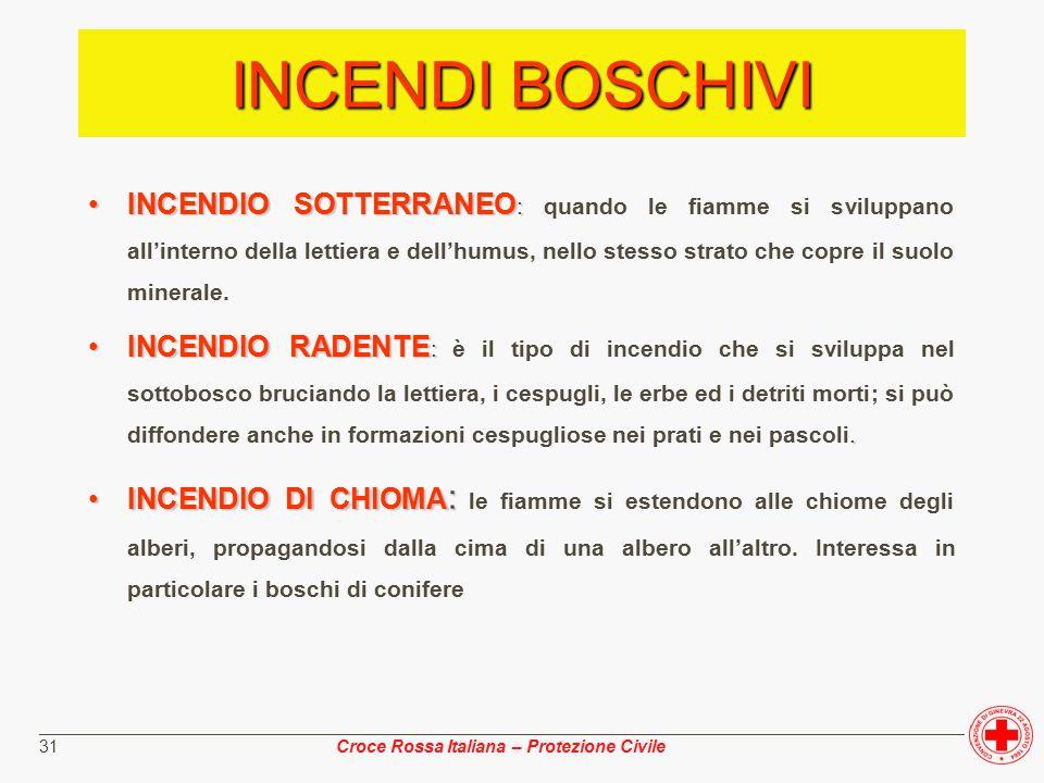 ________________________________________________________________________________________________ Croce Rossa Italiana – Protezione Civile 31 INCENDI BOSCHIVI INCENDIO SOTTERRANEO :INCENDIO SOTTERRANEO : quando le fiamme si sviluppano all'interno della lettiera e dell'humus, nello stesso strato che copre il suolo minerale.
