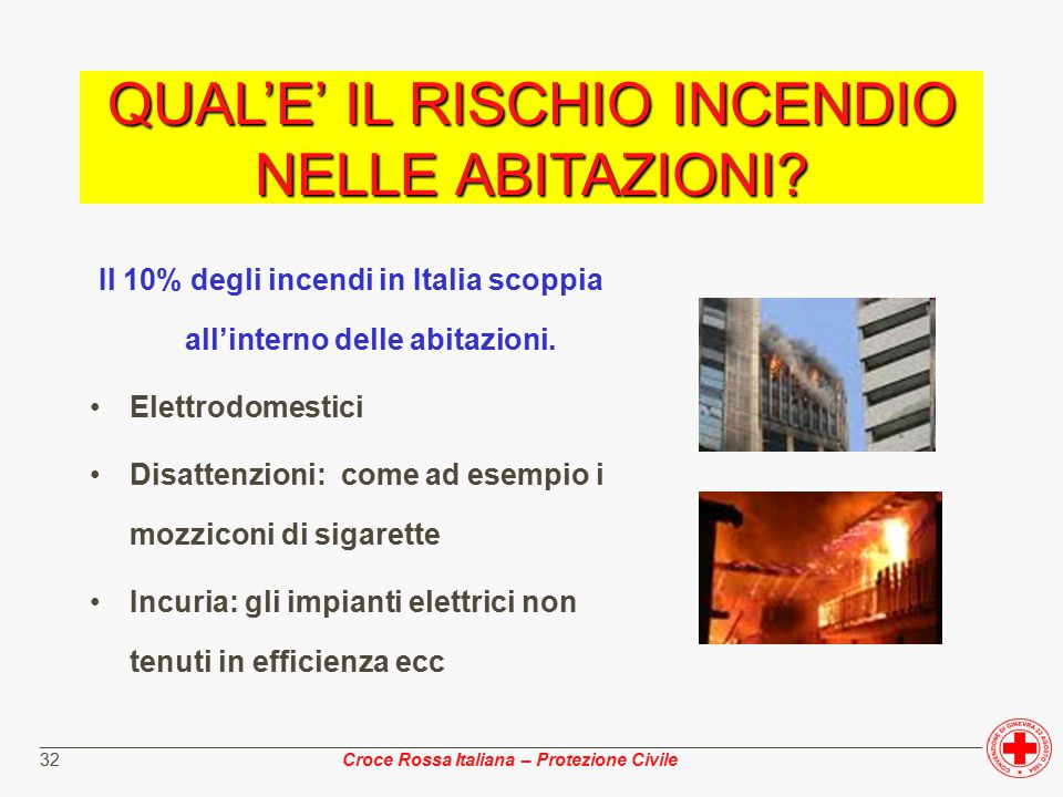 ________________________________________________________________________________________________ Croce Rossa Italiana – Protezione Civile 32 Il 10% degli incendi in Italia scoppia all'interno delle abitazioni.