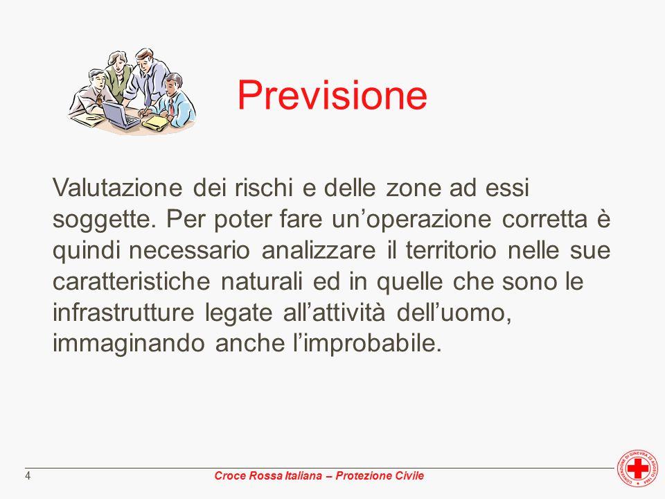 ________________________________________________________________________________________________ Croce Rossa Italiana – Protezione Civile 4 Previsione Valutazione dei rischi e delle zone ad essi soggette.