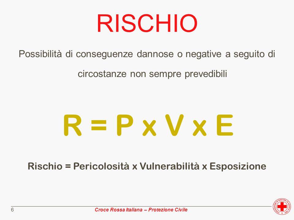 ________________________________________________________________________________________________ Croce Rossa Italiana – Protezione Civile 7 PERICOLOSITA' Probabilità che in un determinato intervallo di tempo nel territorio analizzato si verifichi l'evento atteso