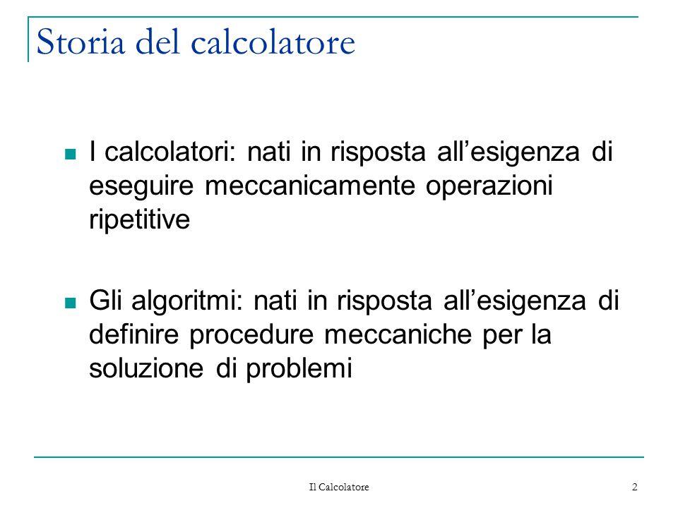 Il Calcolatore 2 Storia del calcolatore I calcolatori: nati in risposta all'esigenza di eseguire meccanicamente operazioni ripetitive Gli algoritmi: n