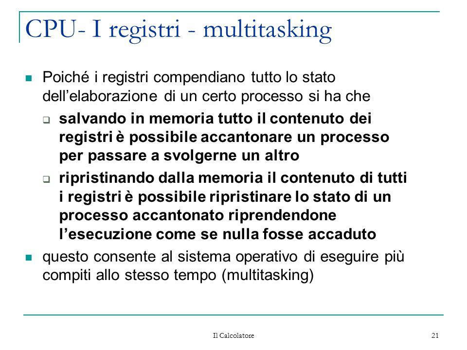 Il Calcolatore 21 CPU- I registri - multitasking Poiché i registri compendiano tutto lo stato dell'elaborazione di un certo processo si ha che  salva