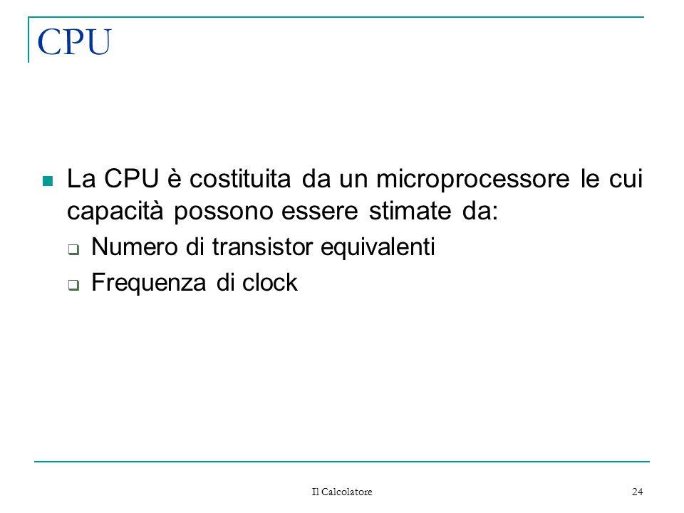 Il Calcolatore 24 CPU La CPU è costituita da un microprocessore le cui capacità possono essere stimate da:  Numero di transistor equivalenti  Freque