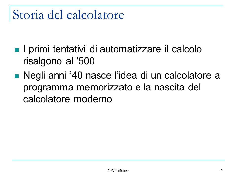 Il Calcolatore 3 Storia del calcolatore I primi tentativi di automatizzare il calcolo risalgono al '500 Negli anni '40 nasce l'idea di un calcolatore