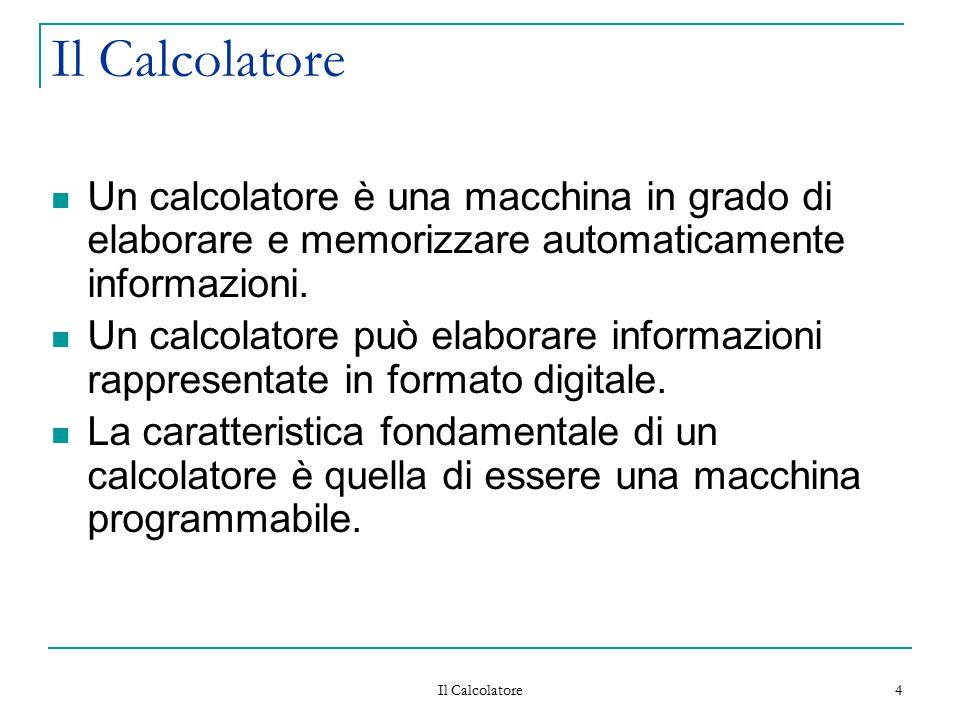 Il Calcolatore 4 Un calcolatore è una macchina in grado di elaborare e memorizzare automaticamente informazioni. Un calcolatore può elaborare informaz