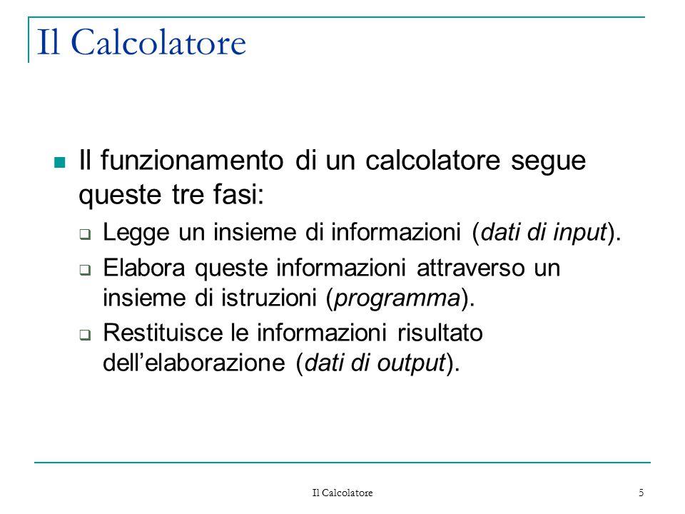 Il Calcolatore 5 Il funzionamento di un calcolatore segue queste tre fasi:  Legge un insieme di informazioni (dati di input).  Elabora queste inform