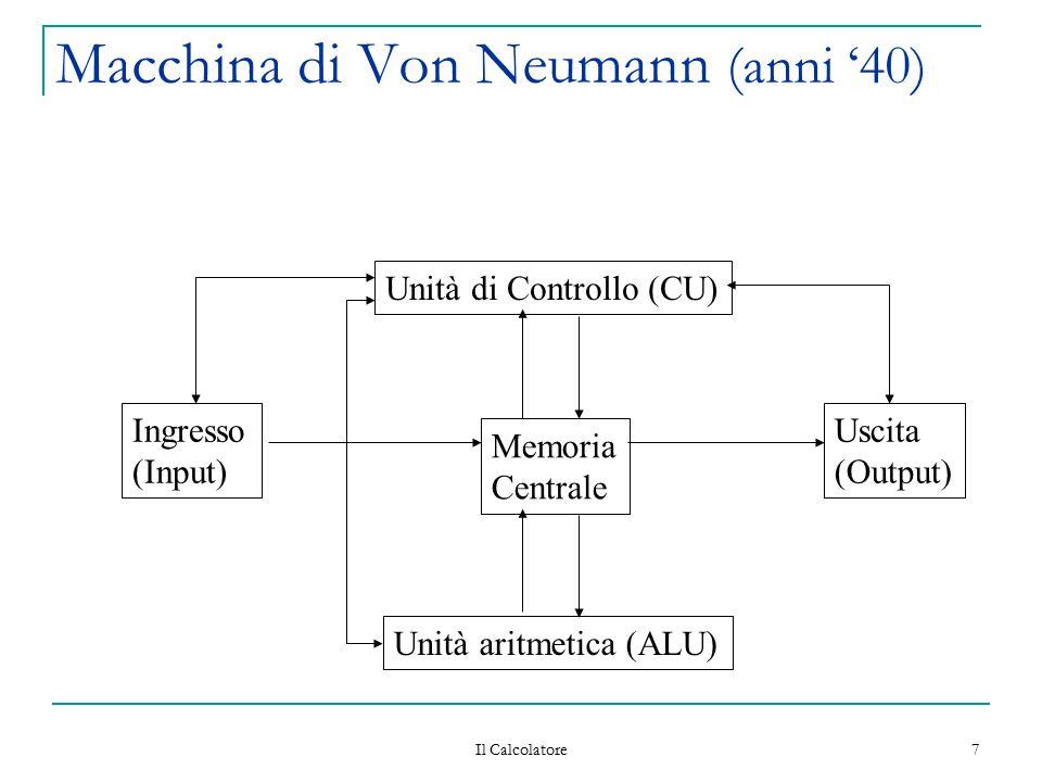 Il Calcolatore 7 Macchina di Von Neumann (anni '40) Unità di Controllo (CU) Memoria Centrale Unità aritmetica (ALU) Uscita (Output) Ingresso (Input)