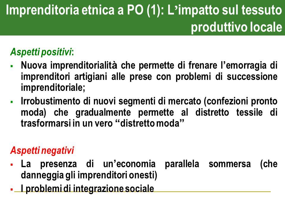 Imprenditoria etnica a PO (1): L ' impatto sul tessuto produttivo locale Aspetti positivi :  Nuova imprenditorialit à che permette di frenare l ' emo