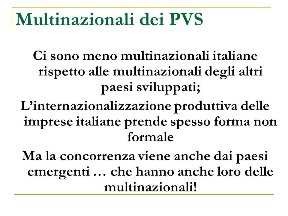 Multinazionali dei PVS Ci sono meno multinazionali italiane rispetto alle multinazionali degli altri paesi sviluppati; L'internazionalizzazione produt