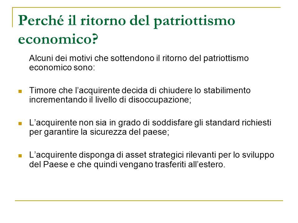 Perché il ritorno del patriottismo economico? Alcuni dei motivi che sottendono il ritorno del patriottismo economico sono: Timore che l'acquirente dec