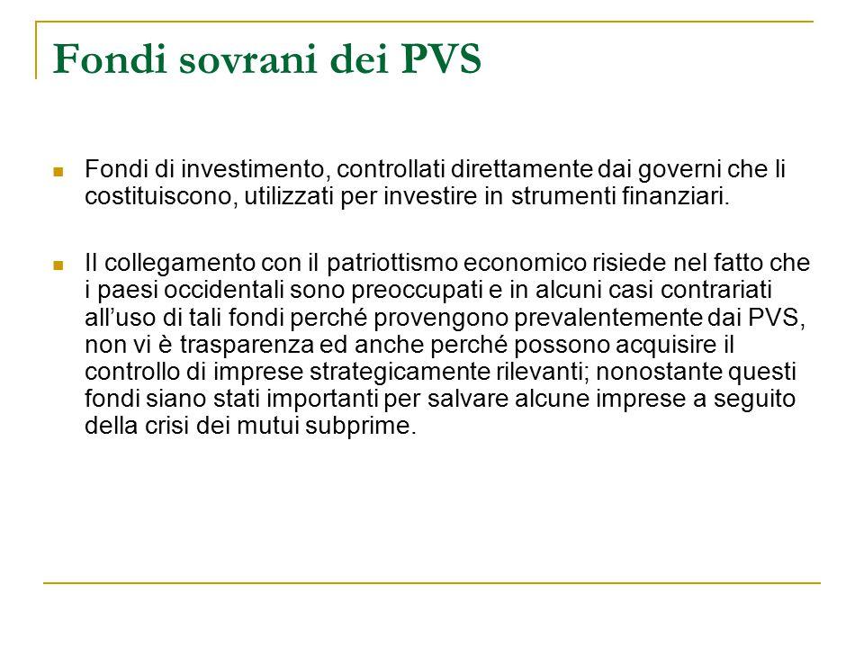 Fondi sovrani dei PVS Fondi di investimento, controllati direttamente dai governi che li costituiscono, utilizzati per investire in strumenti finanzia