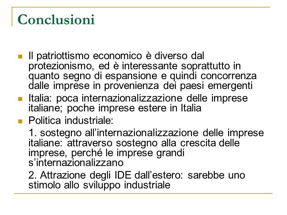 Conclusioni Il patriottismo economico è diverso dal protezionismo, ed è interessante soprattutto in quanto segno di espansione e quindi concorrenza dalle imprese in provenienza dei paesi emergenti Italia: poca internazionalizzazione delle imprese italiane; poche imprese estere in Italia Politica industriale: 1.