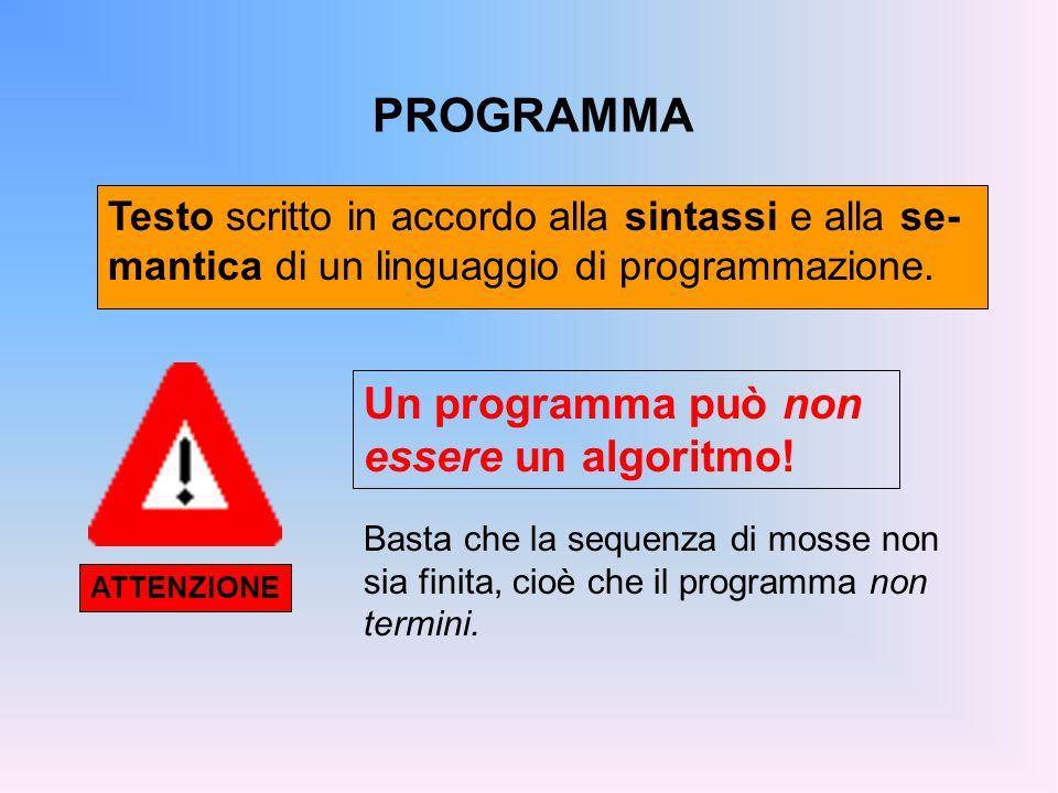 PROGRAMMA Testo scritto in accordo alla sintassi e alla se- mantica di un linguaggio di programmazione.