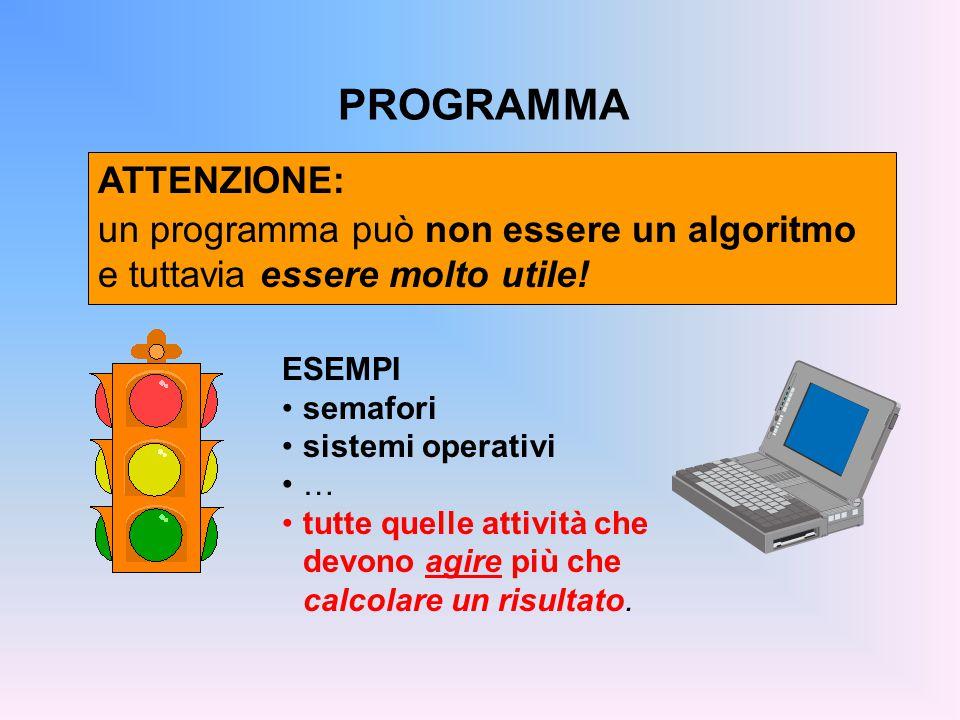 PROGRAMMA ATTENZIONE: un programma può non essere un algoritmo e tuttavia essere molto utile.