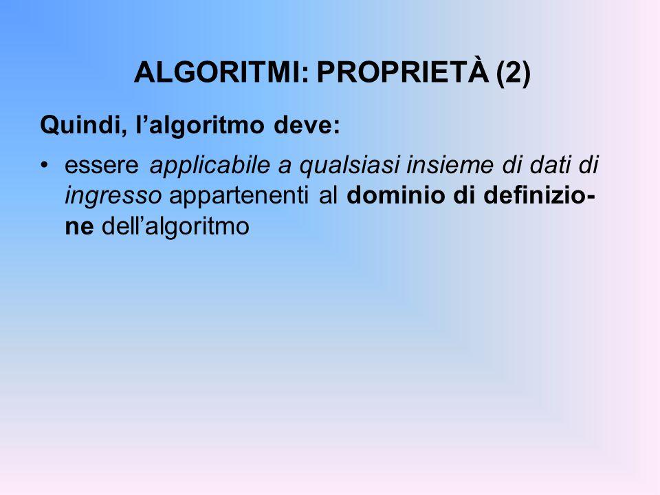 ALGORITMI: PROPRIETÀ (2) Quindi, l'algoritmo deve: essere applicabile a qualsiasi insieme di dati di ingresso appartenenti al dominio di definizio- ne dell'algoritmo